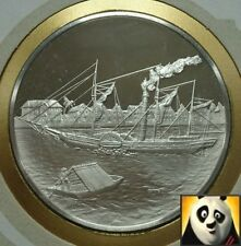1977 TUVALU HMS BEAGLE HALLMARKED SILVER PROOF MEDAL COVER PNC