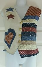 OOAK Patriotic Star Spangled Red White Blue Country Patchwork Reversible Vest L
