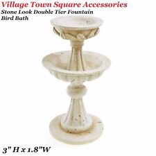 "3"" Miniature Dollhouse xmas village Town Square fax Stone Double Teir Fountain"