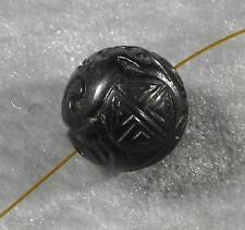 "Natural Jet Lignite Hand Carved Round Loose Bead 16mm 5/8"" Mongolia"