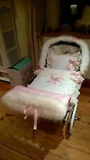 DOLLS PRAM QUILT SET FOR SILVER CROSS COACH BUILT INC FUR HOOD TRIM - HAND MUFF
