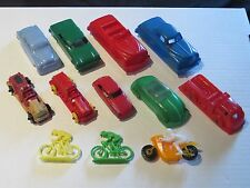 Vintage plastic bonux cycle motorcycle lido plasticville marx renwal toy car lot