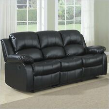Living Room Furniture Sofa Couch Cranley Double Reclining Leather in Black
