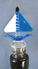 Wine Bottle stopper hand made glass blue Sailboat bar accessory