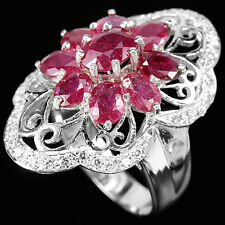 Sterling Silver 925 Genuine Pink Ruby & Lab Diamond Filigree Ring Size O US7.25