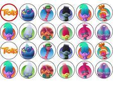 Papel de oblea de trolls Película Fiesta de Cumpleaños Cupcake/Hada Cake Toppers 24x4cm