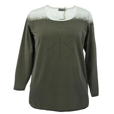 "BNWT ""DeLuca"" LADIES PLUS SIZE STUDDED PANEL LONGER TOP from  DENMARK, SIZE 14"