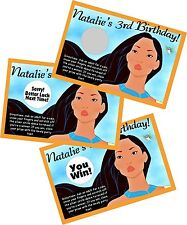 POCAHONTAS PERSONLIZED SCRATCH OFF OFFS PARTY GAME GAMES CARDS BIRTHDAY FAVORS