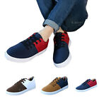 New Men Mixed-color Canvas Board Boat Shoes Lace-up Sneakers Casual Flat Running