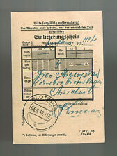1940 Slotwina Germany Auschwitz KZ Concentration Camp Cover Money Order Receipt