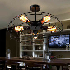 Industrial Black Metal Fan Wheel Ceiling Lamp Pendant Light Chandelier LED Bulbs