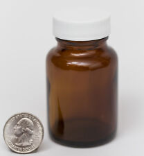 2oz 60ml 60cc Wide Mouth Amber Glass Packer Bottle, white PTFE Lined Cap Closure