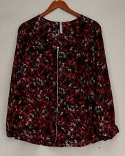 NY Collections Sz 1X Long Sleeve Boat Neckline Full Zip Top Red NEW NWOT