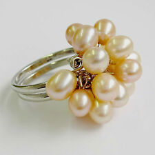 Adjustable Pink clutured Pearl Cluster Ring