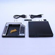 12.7mm USB2.0 CD/DVD RW External Enclosure Case + Sata 2nd HDD Hard drive caddy