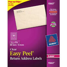 "Avery 15667 1/2"" x 1 3/4"" Clear Address Labels. 800 Labels 10 Sheets (Laser)"