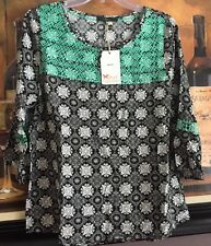 NWTs Women's THML Green Black White Embroidered 3/4 Sleeve Blouse Top L