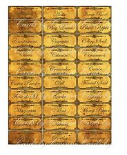 Vintage inspired grunge 38 spice food labels stickers glass jar glossy laminated