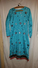 LADIES  VINTAGE  RETRO ? ASIAN WEDDING ? DRESS TERQUISE WITH SEQUINS 36 CHEST