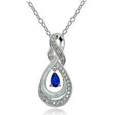 925 Silver Created Blue Sapphire & White Topaz Infinity Twist Teardrop Necklace