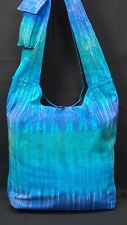 Blue Tie Dye Purse Tree of Life Buddha Lotus Pose Boho Tote Hobo Shoulder Bag