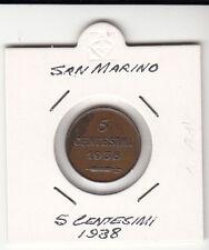 SAN MARINO CENTESIMI 5 RAME OTTIMA CONSERVAZIONE 1938  RARA SIGILLATA