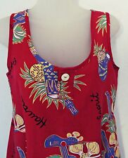Vtg 80's EDC ESPRIT Red Floral Music Hawaiian Hawaii Sundress Dress Women Sz M