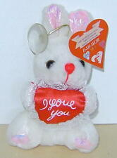 I LOVE YOU BUNNY RABBIT WITH HEART MESSANGER SMALL STUFFED TOY WITH HANGER