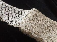 2 Yards + Antique Lace Remnant  Salvage Flounce Primitive Crafts Dolls