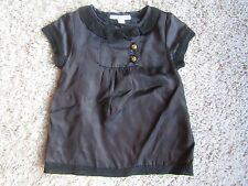 Designer Louis Louise 3 Month Lined Black Satin Dress w/ Brass Buttons