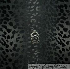 BonEful Fabric FQ Cotton Quilt VTG Gray Black Cheetah Leopard Skin Stripe Safari