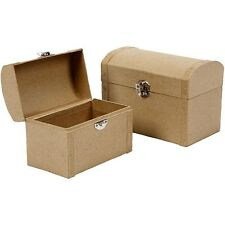 Set of 2 Paper Mache Treasure Chest Boxes