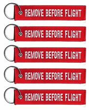 5 REMOVE BEFORE FLIGHT LUGGAGE KEYCHAIN KEY RING PILOT CABIN CREW TAG WHITE/RED