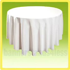 """108"""" Round Tablecloth Banquet Wedding Restaurant Polyester Cover - WHITE"""