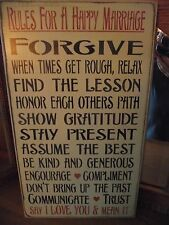 RULES FOR A HAPPY MARRIAGE, FORGIVE, ASSUME THE BEST,TRUST  primitive wood sign
