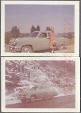 Vintage Color Photos Woman w/ 1952 Mercury Car on Roadside 731733