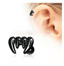"PVD Plated Black Vampire Fangs Cartilage Earring Tragus Helix Lobe 16g 1/4"" bar"