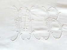 LINGE ANCIEN DRAP  BRODE MAIN GRAND DOUBLE MONOGRAMME MB  14 CM COTON FESTON