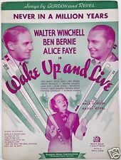 """1937 """"WAKE UP AND LIVE"""" MOVIE SHEET MUSIC """"NEVER IN A MILLION YEARS"""" ALICE FAYE"""