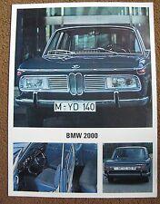 1966 BMW 2000 FOLLETO Prospekt Folleto Catálogo catálogo Broschüre