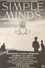 22/4/89Pgn40 Advert: See Simple Minds Play Live In Edinburgh August'89 7x5