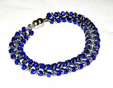 Centipede Chainmaille (chain mail) Bright Aluminum Bracelet with Purple Beads