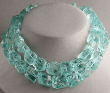 AQUA BLUE QUARTZ STATEMENT NECKLACE ROUGH TURQUOISE jewelry Handmade in the USA