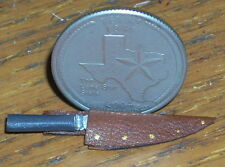 Dollhouse Miniature Western Cowboy Brown Bowie Knife 1:12 Right Point Alamo