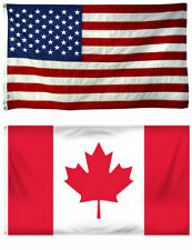 4x6 4'x6' Wholesale Combo USA American & Canada Canadian Flag banner grommets