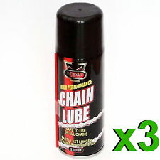 3 x 200ml Motorcycle Cycle Chain Lube Lubricate Oil Spray Motorbike Bike Bicycle