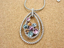 BRIGHTON Silver / Multi Color MONTE CARLO GEMS Necklace Pendant ~ NEW IN POUCH