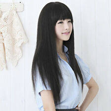 New Women Clip-on Full Long Straight Wig Hair Extension Cosplay Accessory Black