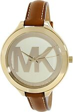 Michael Kors Women's Slim Runway MK2326 Brown Leather Quartz Watch