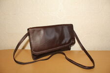 Superb VTG Brown Leather Clasp Hand Bag Shoulder Bag Envelop Clutch Evening Bag